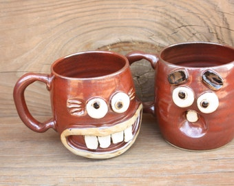 Opposites Attract His and Hers Coffee Cups. Hot Cocoa Tea Mugs. Rustic Red Brown. Funny Couples Face Mugs Wedding Anniversary Gift Set.