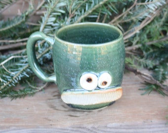 Mans Mustache Mug. Pottery Ceramic Face Mug Green. Fun Husband Man Gift. Uptight Witty Coffee Cup. Unique Gifts.