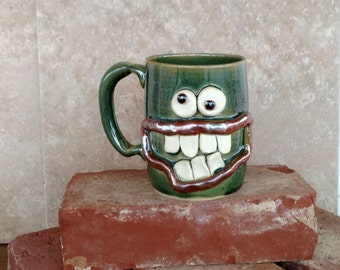 Valentines Day Gift for Him. Large 14 Oz Green Pottery Coffee Cup Man Husband Gift for Him Funny Big Smile Googly Eye Face Ceramic Stein.