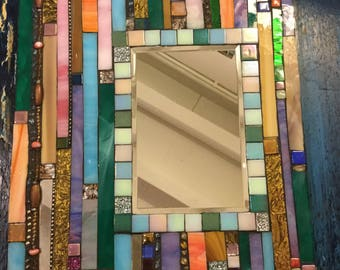 MOSAIC MIRROR, Multicolored, Stained Glass, Wall Art, Home Decor