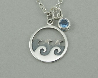 Wave Necklace - Sterling Silver Ocean Jewelry, Ocean Gifts, Charm Necklace, Nautical, Birthday Gift, Birthstone Necklace