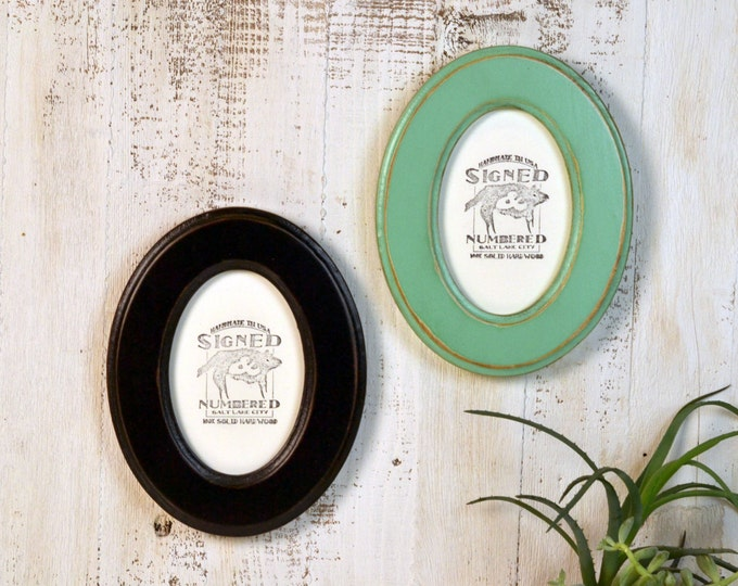 4x6 Oval Opening Picture Frame Oval Shaped Outside in Finish COLOR of YOUR CHOICE - Solid Poplar Wood 4 x 6 Photo Frames Round Ellipse