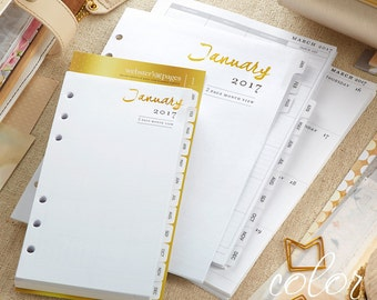 40% OFF SALE! 2017 Calendar Personal Size Refill Inserts • Week & Month Color Crush 2017 Personal Planner 12-Month Calendar (P1017)