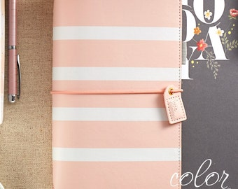 Blush Stripe Travelers Webster's Pages Color Crush Travelers Journal (IN STOCK) Free Washi Tape with this order