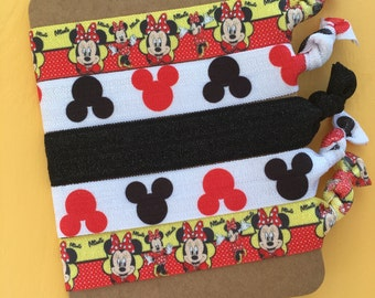 5 Pack Classic Minnie Mouse Disney Mouse Ears Inspired Knot Hair Ties Fold Over Elastic Stretch Bracelet by Whimsical Elements