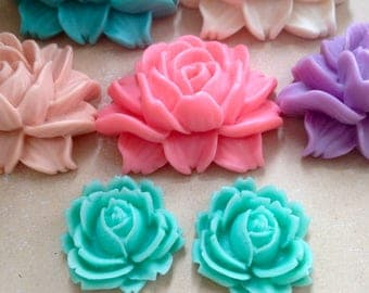 Cabbage Rose Cabochons Large Flower Cabs Stock Clearance Lilac Turquoise Pink
