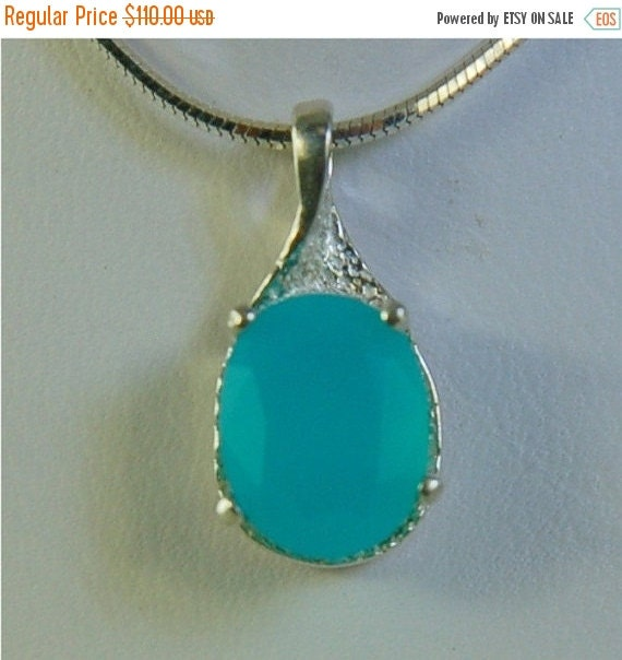 HOLIDAY SALE Paraiba Chalcedony Necklace Sterling Silver 10x8mm Oval 1.50ct in Semi-Textured Setting