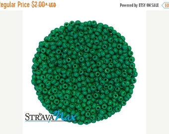 ON SALE 10/0 Medium Dark Green Seed Beads - sold in one ounce packs - 2200 beads to an ounce - approx 2.3mm diameter - Czech glass beads