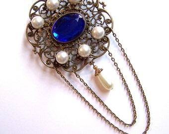 Sapphire and Pearl Tudor Brooch Renaissance Medieval Jewelry Pin Borgias Jane Seymour