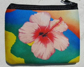 Pink Hibiscus Flower tropical color art Coin Purse zippered pouch neoprene