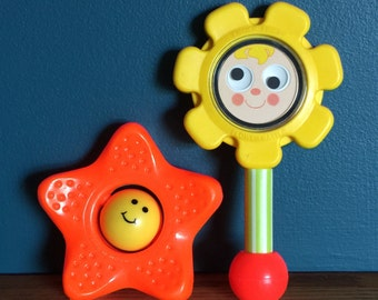 Vintage 1970s Baby Toys / 70s Fisher Price Flower Rattle and Sandy Starfish / Your Choice or Both