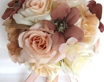 "Wedding Bouquet 17 Piece Package Bridal Silk flower Bouquets  ROSE GOLD Dusty MAUVE Peach Wedding decoration Centerpiece ""RosesandDreams"""