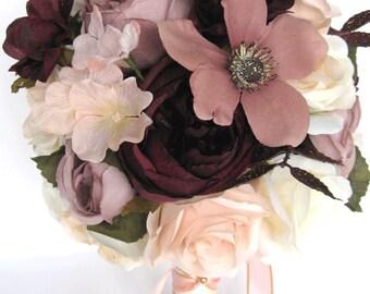 "Wedding Bouquets Bridal Bouquet 17 Piece Package Wedding Silk flowers ROSE GOLD Blush EGGPLANT Mauve Wedding Centerpiece ""RosesandDreams"""