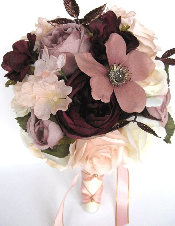 Wedding Bouquets Bridal Bouquet 17 Piece Package Wedding Silk