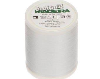 Madeira White Bobbin Thread Polyester 1650 yds. Machine Embroidery Bobbin Weight