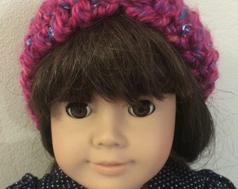 Pink and Purple Hand knit Faux Turban, 18 in doll size