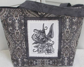 Gray Swallow Large Tote Bag Swallow Tattoo Purse DamaskRose Shoulder Bag  Ready To Ship
