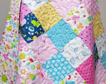 Baby Girl Quilt-Modern Garden Nursery Bedding-Fabric-Wildflower Meadow-Traditional Patchwork Crib-Navy Pink-Hedgehog-Hummingbird-Dragonfly