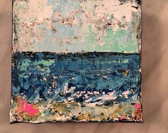 Beach painting, abstract beach painting, 4 x 4 beach scene, beach house decor, fine art, original acrylic painting