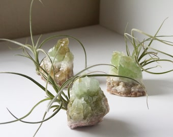 Crystal Air Plant, Green Calcite Geode, Airplant Display, Spiritual Gift For Friend, Yogi, Therapist, Soothing Spring Boho Decor