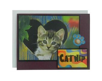 Catnip Cat Lover Greeting Card Blank Cat themed card cat paw handmade cat greeting card