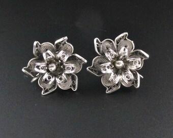 Sterling Silver Flower Earrings, Filigree Earrings, Sterling Silver Earrings, Wire Work Earrings