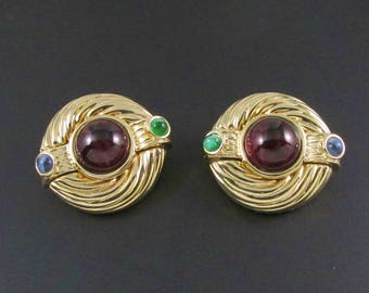 Gold Statement Earrings, Jewels of India, Faux Gemstone Earrings, Purple Earrings, Glass Earrings, Cabochon Earrings