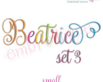 Beatrice 3 Monogram Font- Small - BX files included- Instant Download Machine embroidery design