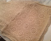 Hand Crocheted Lace Pillow Sham ~ Vintage Standard Sized Pillow Covers ~ Ecru or Natural Color ~ Boho Chic Decor ~ Keeco Vintage Bedding