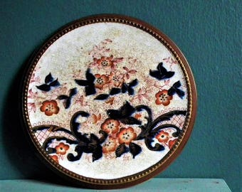 Antique Hand-Painted Pottery Circular Trivet Pot Teapot Stand Terracotta Redware Dark Blue Red Flowers Gold Lustre Decoration Vintage Decor