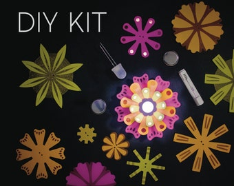 Light-Up Paper Flowers Kit - Makes 10 Flowers - S.T.E.M. Kit Craft Project - Neon - Crafty Gift - Crafty Kit - STEM Craft Kit - Paper Flower