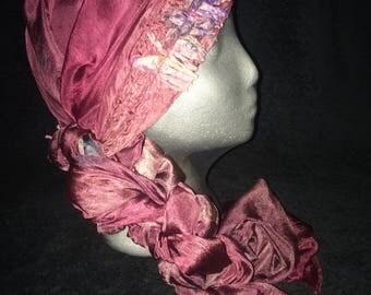 Red grape colored silk nuno felted scarf, head wrap, bandana