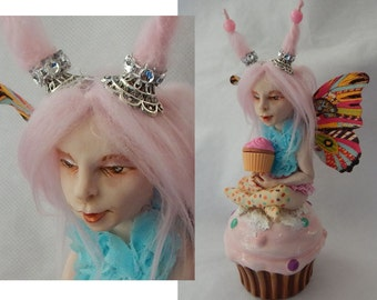 Sprinkles Hollypie Cupcake OOAK Fairy Fairies Art Doll NEW Polymer Clay Fantasy Art Figurine Sculpture
