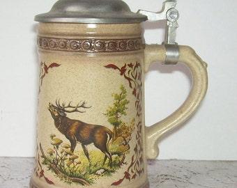 Olwe Ceramic Beer Stein with Pewter Lid, Elk In The Woods, Deer, Moose, Lodge Decor, Lodge Bar Accessory, Drinking Stein, Beer Stein