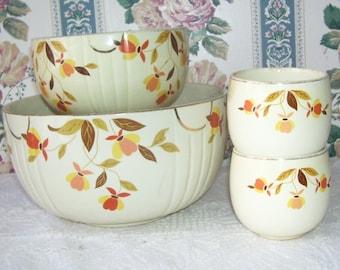 4 Hall Autumn Leaf Jewel Tea Bowl's, 1 Large Autumn Leaf, 1 Small Autumn Leaf, 2 Pudding Cups, Retro Bowl, Mary Dunbar Hall Dinnerware