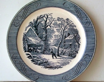 Currier and Ives Large Chop Plate A Snowy Morning, 13 1/4  Inches Blue and White Transfer Plate, Currier and Ives by Royal, Rustic Kitchen,