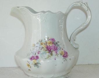 Victorian Huntington China Co. White Porcelain Serving Pitcher,  1904 -1907, Huntington, West Virginia,, Collectible Porcelain Pitcher