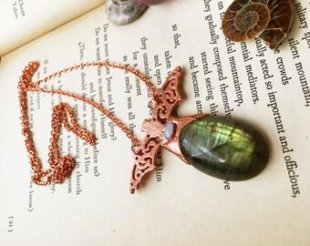 Copper Bat Necklace, Labradorite Necklace, Copper Necklace, Green Labradorite Bat Wings Necklace Copper Plate Jewelry Electroformed Necklace