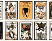 Queen of We'en Playing Card Blocks Panel Halloween Quilting Treasures Fabric