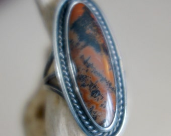 Petrified Wood Sterling Ring Navajo 1940's