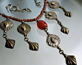 Carnelian Silver Wash Necklace Afghanistan