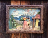 """Small 12"""" by 9.5"""" rare 1940s hand carved hand painted Mexican bas relief wall hanging, Mexican folk art, old tourist souvenir wood carving"""