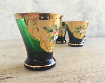 Vintage cordial shot glass Bohemian Czech hand painted green gold gild enamel flowers