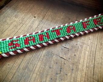 Kid's Size 28 1950s beaded Western belt Santa Fe souvenir Native American style Southwestern belt