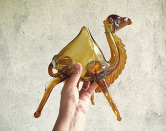 Large Handblown Glass One Hump Camel, Amber Glass Camel Figurine, Murano Glass