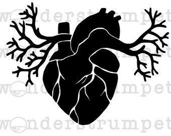 Winged Anatomic Heart Stencil