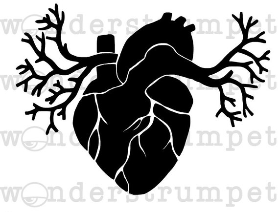 Winged Anatomic Heart Stencil From Strumpetstencils On