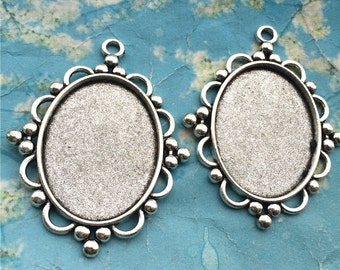 NEW COME 5pcs 64x40mm antiqued Silver oval cameo/cabochon base setting pendant blanks/bezel trays(40x30mm incavity)