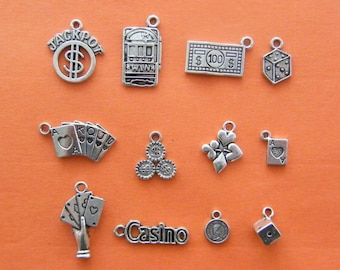The Vegas Charms Collection - 12 antique silver tone charms