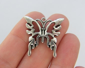6 Butterfly charms antique silver tone A630